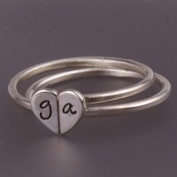 Two Heart Halves Stacking Sterling Silver Rings by InitialRings