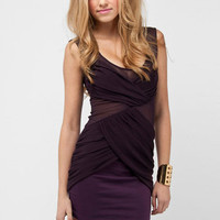 Pinpoint Mesh Dress in Plum :: tobi