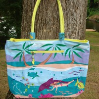 Beach Tote with interior organizer pocket SEA Extra Large Canvas