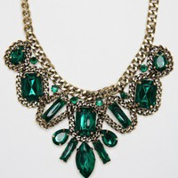 Antoinette Emerald and Chain Necklace - ShopSosie.com