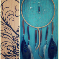 Bohemian dreams .. 6 inch bohemian dreamcatcher with Turquoise and Quartz Crystal