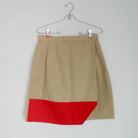 $44.00 Beige and Red Colorblock Skirt by laurendkemp on Etsy