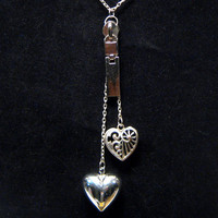 Heart charm lariat necklace, silver tone zipper necklace
