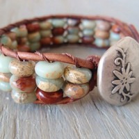 Southwestern leather bracelet Desert Oasis semi by slashKnots