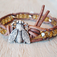 Leather bracelet &#x27;Like Bees to Honey&#x27; amber tortoise by slashKnots