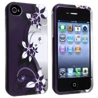 Amazon.com: Snap-on Case with Apple® iPhone® 4 / 4S , White / Purple Flower: Cell Phones & Accessories