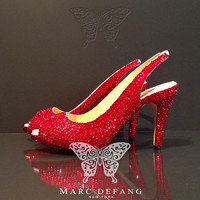 Genuine Leather, 3&quot; heels, Luxury Red crystal slingbacks