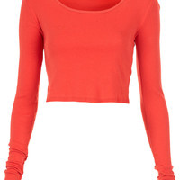 Long Sleeve Crop Tee - Jersey Tops - Clothing - Topshop USA