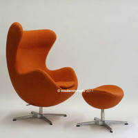 egg chair by moderntomato  - orange - mid century modern retro womb swan