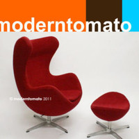 egg chair + stool by moderntomato - red - mid century modern retro womb swan | eBay