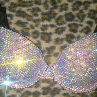 Swarovski AB Cystal  T-shirt Bra Any Size A-G Cups