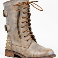 Amazon.com: HARLEY-12 Studded Lace Up Distress Buckle Mid Calf Military Combat Boot: Shoes