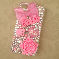 Pink Barbie Nicki Minaj Sparkly Swarovski Bling iPhone for 4/4s &amp; 5 Protective Cell Phone Case Cover