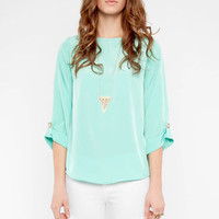 Embellished Button Blouse in Mint :: tobi