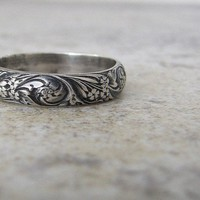 Silver Floral Ring Antiqued Wedding Ring Wedding Band