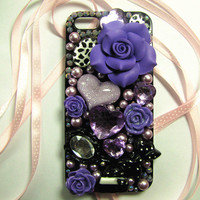Iphone 5 Case -lolita iphone5 case.Himegyaru case.DIY princess purple jewel rhinestone anna sui kawaii case.rose and jewelry case art.