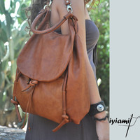 $299.00 Handmade leather backpack named Daphne in Brandy by iyiamihandbags