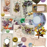 Violets & Violas Vintage Digital Embellishments Kit