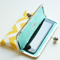 iPad / ipad mini / ereader Sleeve - Case Yellow and White Chevron with Aqua Blue Lining