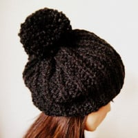 Woman&#x27;s slouch hat with pom pom in Charcoal unisex by KittyDune