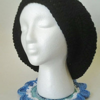Black Crochet Slouchy Beret/Hat With Flower Motif - Adult Size