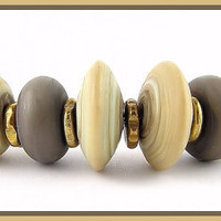 Shades of Mushroom Lampwork Beads SRA by CanyonEchoes on Etsy