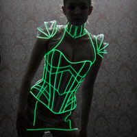 XS/S BLACK Glowing trim Mini angular PVC lace up Neck Corset Artifice Clothing w Green Glow (production sample ready to ship)