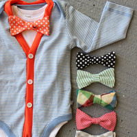 Cardigan and Bow Tie Onesuit Set - 18-24 Months - Trendy Baby Boy - Orange and Blue