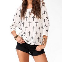 Cross Pattern Dolman Top | FOREVER 21 - 2043761615