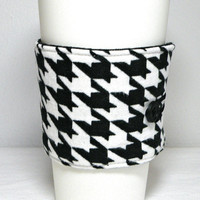 Coffee Sleeve Reusable Travel Cup Cozy Black and White Houndstooth