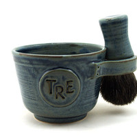 Personalized Shaving Set: Black Badger Hair Shave Brush, Shave Mug with Monogram or Initals and Shave Soap, Gift for Men, Best Man, Dads