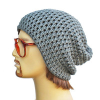 Grey Slouch Beanie- Mens or Unisex- Ultimate Slacker- Grey Beanie