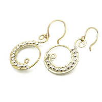 Two tone earrings - 14k goldfilled and sterling silver - artisan jewelry