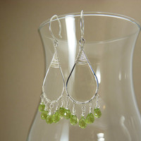 Peridot earrings in sterling silver - silver earrings - chandelier earrings - gemstone jewelry - august birthstone jewelry - tender shoots