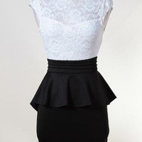 White & Black Peplum Dress with High Lace Top&Open Back