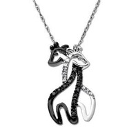 "Amazon.com: XPY 10k White Gold Black and White Giraffe Couple Diamond Pendant Necklace, 18"": Jewelry"