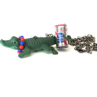 Allie Belle Alligator Gator with a Beer Necklace