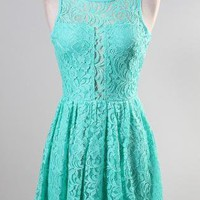Mint Sleeveless Lace Skater Dress with Sheer Front Detail