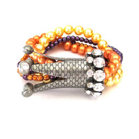 Rhinestone Crown and Glass Pearl Multi Strand Stretch Bracelet orange, yellow, purple, and antique silver