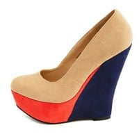 Sueded Color Block Wedge: Charlotte Russe