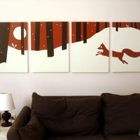 Fox Paintings in Red, White, & Black 18 x 24 (Set of 4)