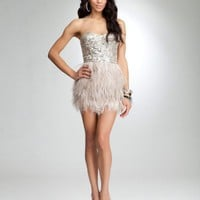 bebe Isis Sequin Feather Dress