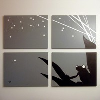 Frog Paintings in Gray, Black, & White 18 x 24 (Set of 4)