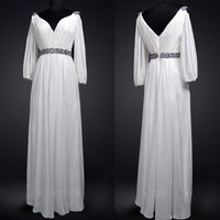 Vintage Wedding Dress Bridal Gown Bridesmaid Dress Reception Dress Evening Party Dress White Chiffon Long Sleeves V Neck Beaded Sash Belt