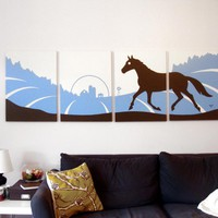 Horse Paintings in Blue, White, & Brown 18 x 24 (Set of 4)