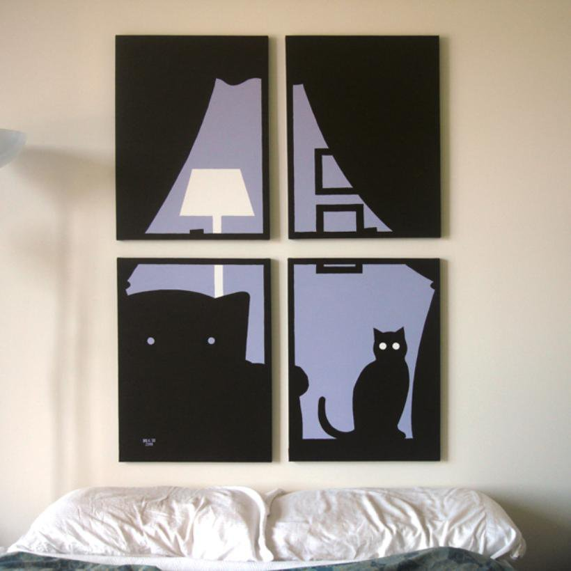 Cat Paintings in Purple, Black & White 18 x 24 (Set of 4)