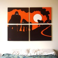 Gorilla Paintings in Orange, Black, & White 18 x 24 (Set of 4)