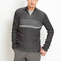 ideeli | CALVIN KLEIN Half-Zip Striped Rib Sweater