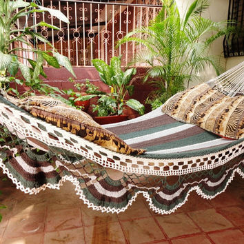Dark Colors Familiar Size Hammock hand-woven Natural Cotton Special Fringe without tassels