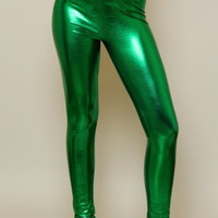 Product - Kelly Green Metallic Leggings by Viktor Viktoria · Storenvy